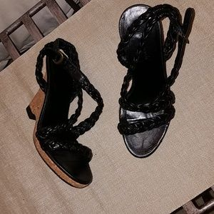 Women's,  size 6.5, black, heeled wedge espadrille